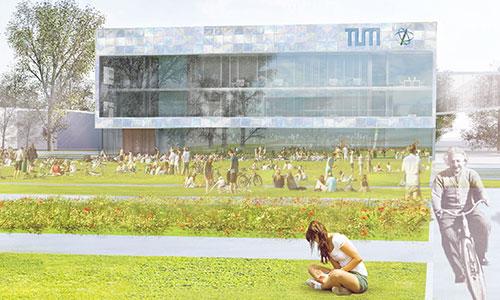 Institutsgebäude Physik der TU Mücnhen, Garching. Aussenansicht